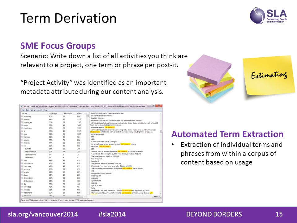 sla.org/vancouver2014 #sla2014 BEYOND BORDERS15 Estimating Term Derivation SME Focus Groups Scenario: Write down a list of all activities you think are relevant to a project, one term or phrase per post-it.