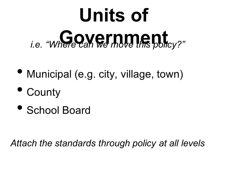 Units of Government Municipal (e.g. city, village, town) County School Board i.e.