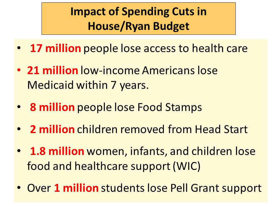 Impact of Spending Cuts in House/Ryan Budget 17 million people lose access to health care 21 million low-income Americans lose Medicaid within 7 years.
