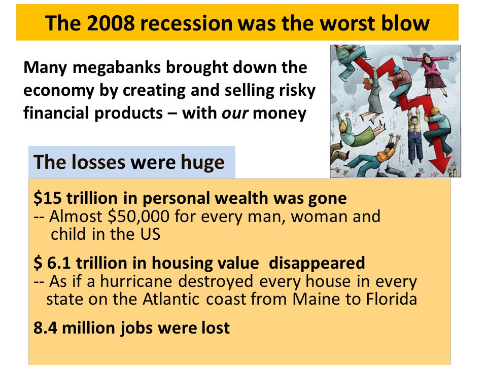 The 2008 recession was the worst blow Many megabanks brought down the economy by creating and selling risky financial products – with our money $15 trillion in personal wealth was gone -- Almost $50,000 for every man, woman and child in the US $ 6.1 trillion in housing value disappeared -- As if a hurricane destroyed every house in every state on the Atlantic coast from Maine to Florida 8.4 million jobs were lost The losses were huge