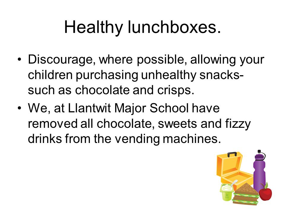 Healthy lunchboxes.