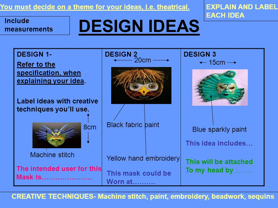 DESIGN IDEAS DESIGN 1- Refer to the specification, when explaining your idea. Label ideas with creative techniques you'll use. DESIGN 2DESIGN 3 You mu
