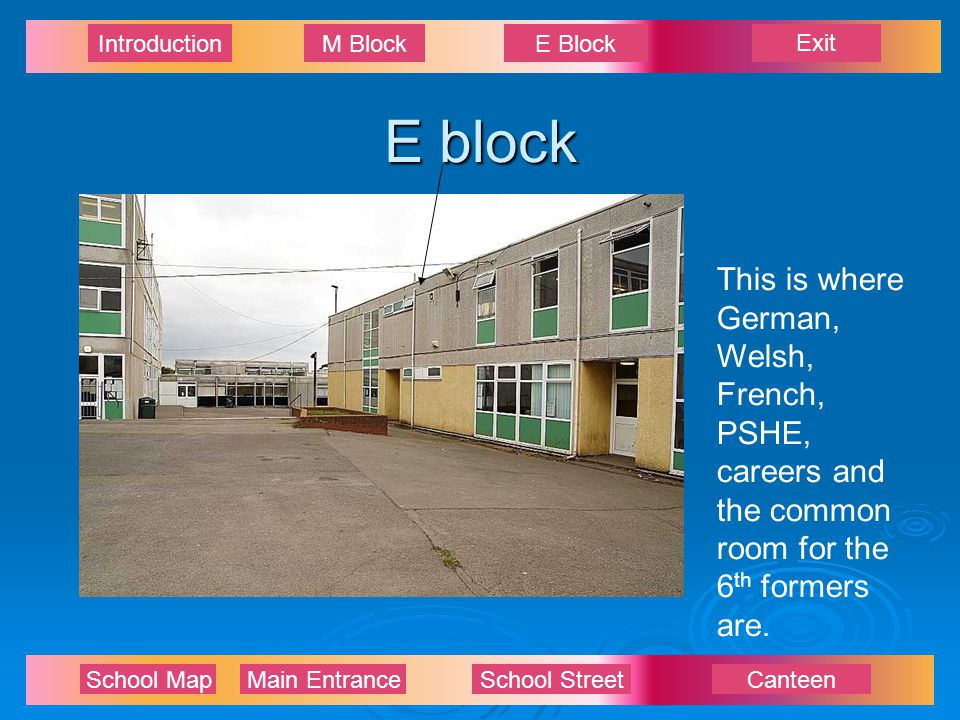 Exit IntroductionM BlockE Block School Map Main EntranceSchool StreetCanteen E block This is where German, Welsh, French, PSHE, careers and the common room for the 6 th formers are.