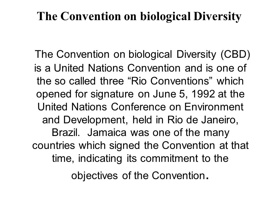 """The Convention on biological Diversity (CBD) is a United Nations Convention and is one of the so called three """"Rio Conventions"""" which opened for signa"""