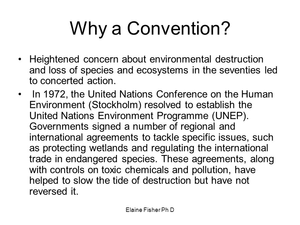 Elaine Fisher Ph D Why a Convention? Heightened concern about environmental destruction and loss of species and ecosystems in the seventies led to con
