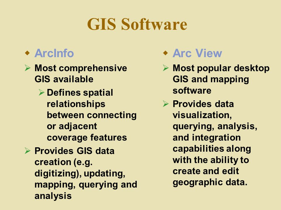 GIS Software  ArcInfo  Most comprehensive GIS available  Defines spatial relationships between connecting or adjacent coverage features  Provides