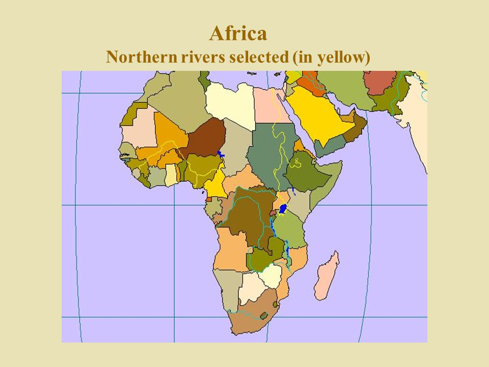Africa Northern rivers selected (in yellow)