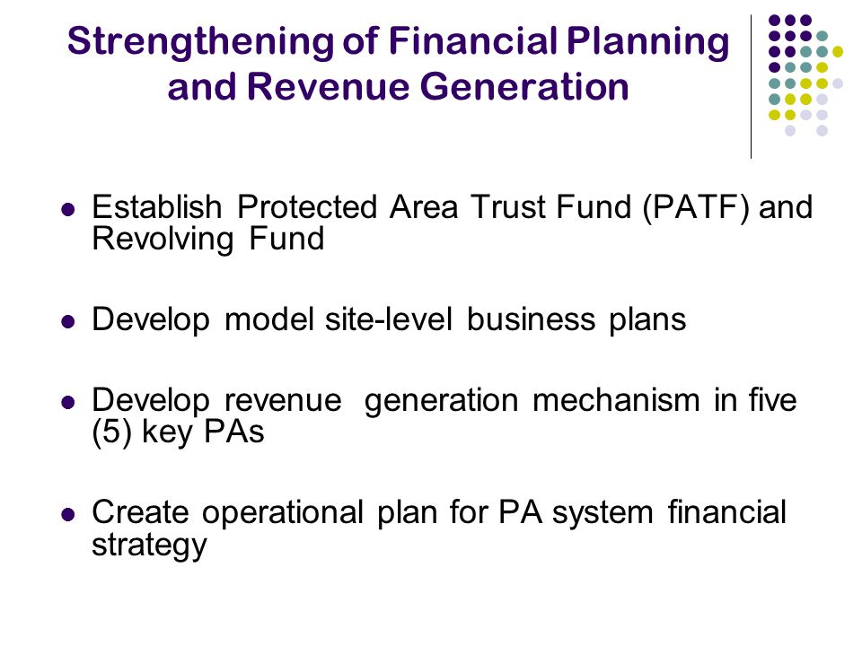 Strengthening of Financial Planning and Revenue Generation Establish Protected Area Trust Fund (PATF) and Revolving Fund Develop model site-level business plans Develop revenue generation mechanism in five (5) key PAs Create operational plan for PA system financial strategy