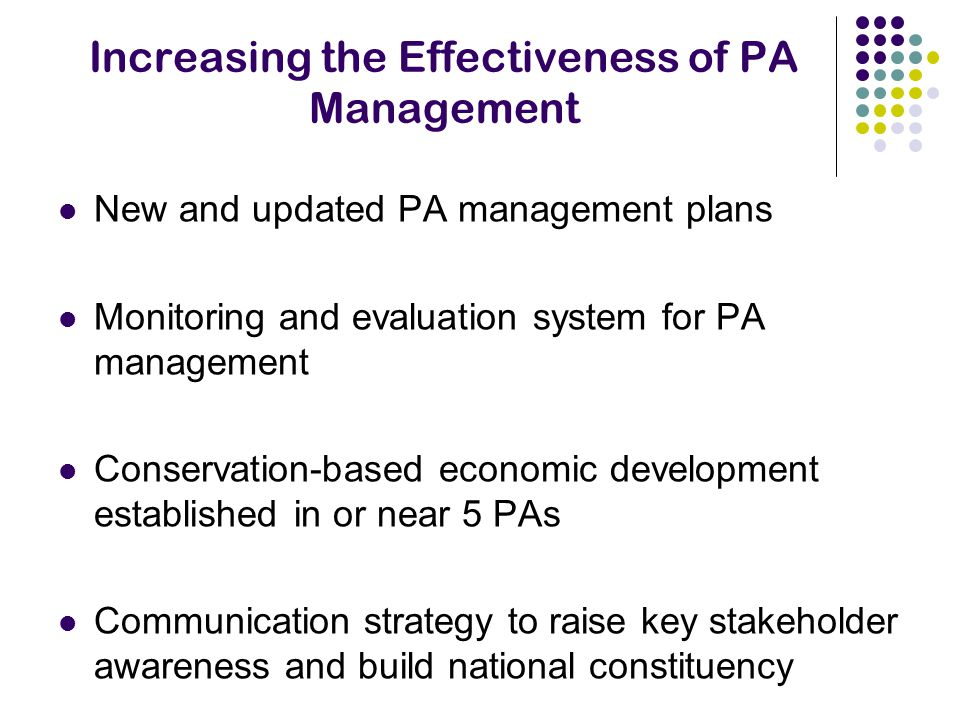 Increasing the Effectiveness of PA Management New and updated PA management plans Monitoring and evaluation system for PA management Conservation-based economic development established in or near 5 PAs Communication strategy to raise key stakeholder awareness and build national constituency