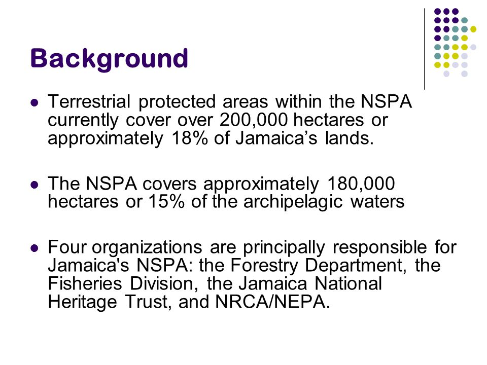 Background Terrestrial protected areas within the NSPA currently cover over 200,000 hectares or approximately 18% of Jamaica's lands.