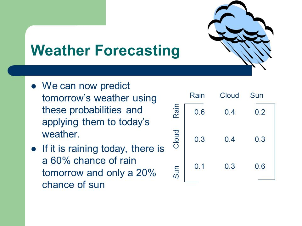 Weather Forecasting We can now predict tomorrow's weather using these probabilities and applying them to today's weather.