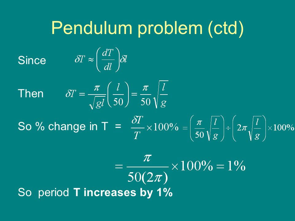 Pendulum problem (ctd) Since Then So % change in T = So period T increases by 1%