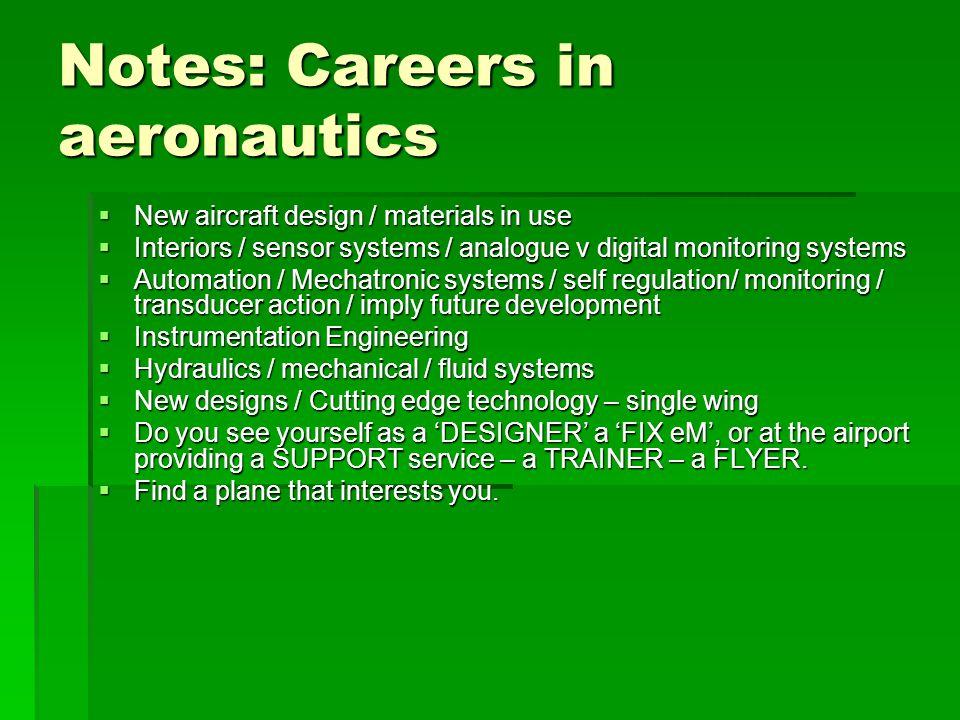 Notes: Careers in aeronautics  New aircraft design / materials in use  Interiors / sensor systems / analogue v digital monitoring systems  Automati