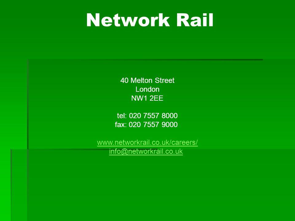 Network Rail 40 Melton Street London NW1 2EE tel: 020 7557 8000 fax: 020 7557 9000 www.networkrail.co.uk/careers/ info@networkrail.co.uk www.networkrail.co.uk/careers/ info@networkrail.co.uk