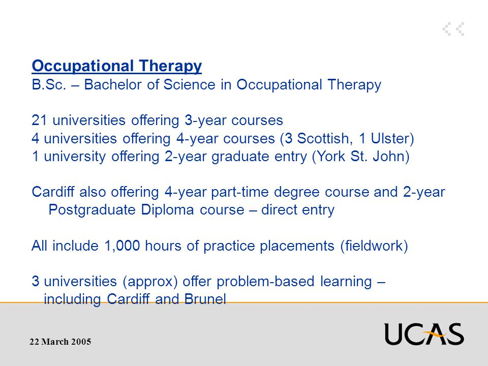 22 March 2005 Occupational Therapy B.Sc.