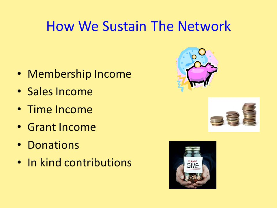 How We Sustain The Network Membership Income Sales Income Time Income Grant Income Donations In kind contributions