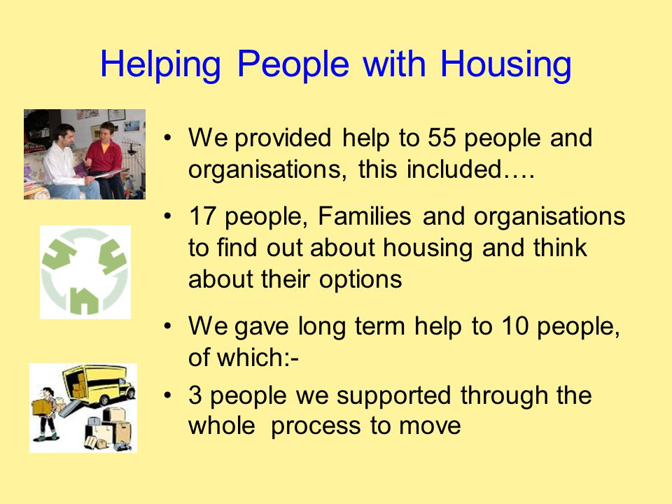 Helping People with Housing We provided help to 55 people and organisations, this included….