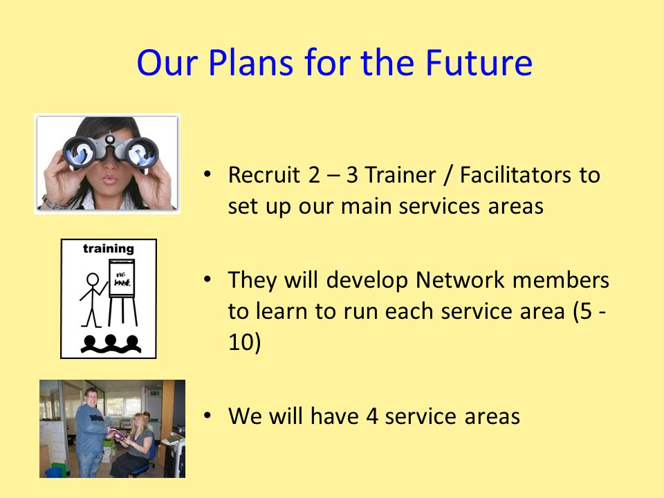 Our Plans for the Future Recruit 2 – 3 Trainer / Facilitators to set up our main services areas They will develop Network members to learn to run each service area (5 - 10) We will have 4 service areas