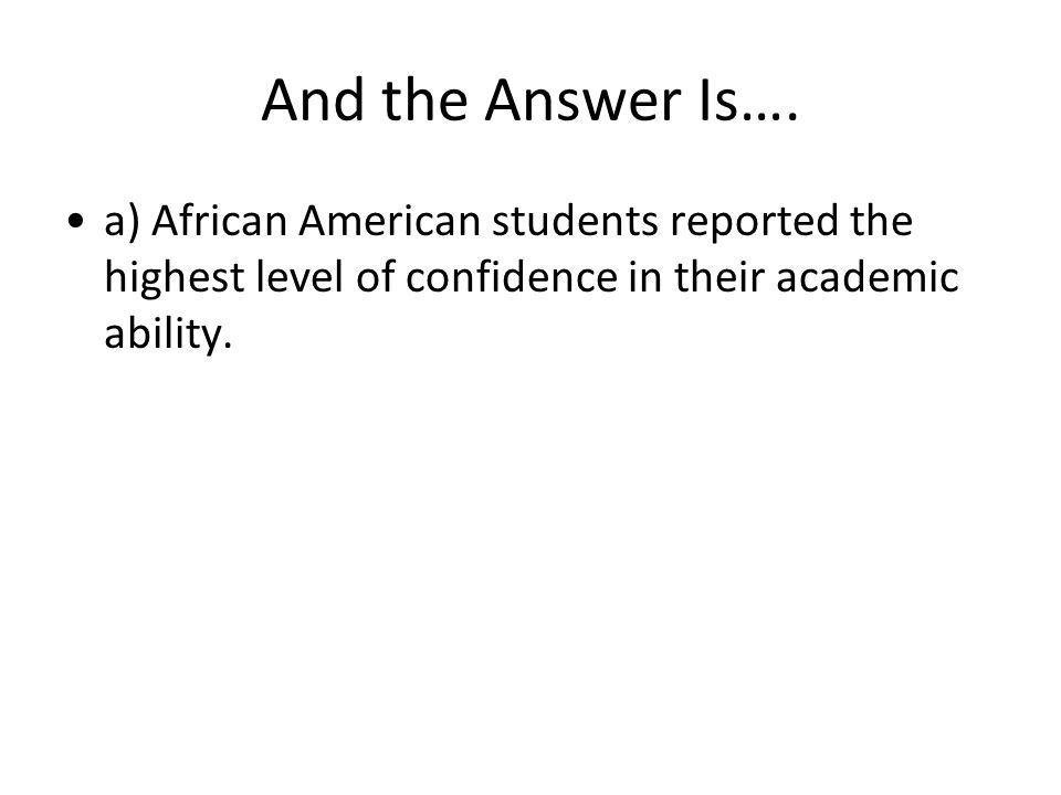 And the Answer Is…. a) African American students reported the highest level of confidence in their academic ability.