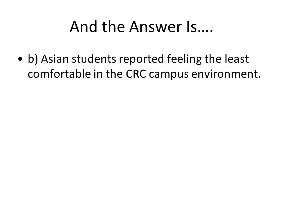 And the Answer Is…. b) Asian students reported feeling the least comfortable in the CRC campus environment.