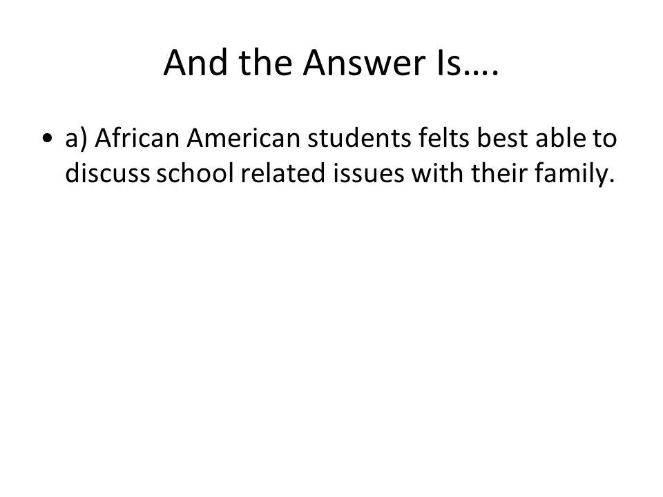 And the Answer Is…. a) African American students felts best able to discuss school related issues with their family.