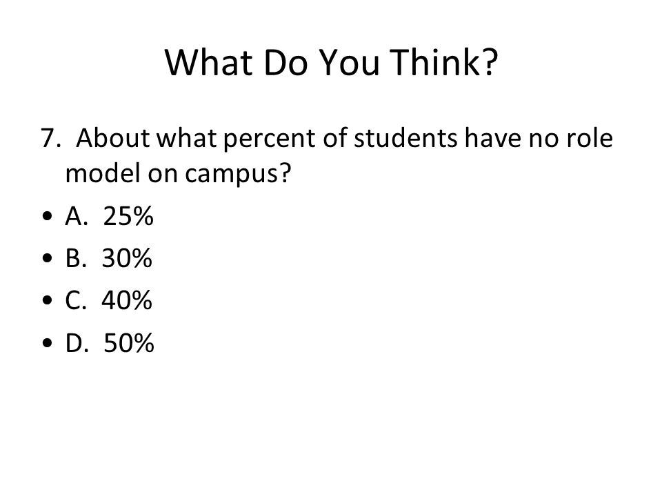 What Do You Think? 7. About what percent of students have no role model on campus? A. 25% B. 30% C. 40% D. 50%