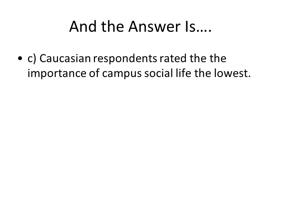 And the Answer Is…. c) Caucasian respondents rated the the importance of campus social life the lowest.