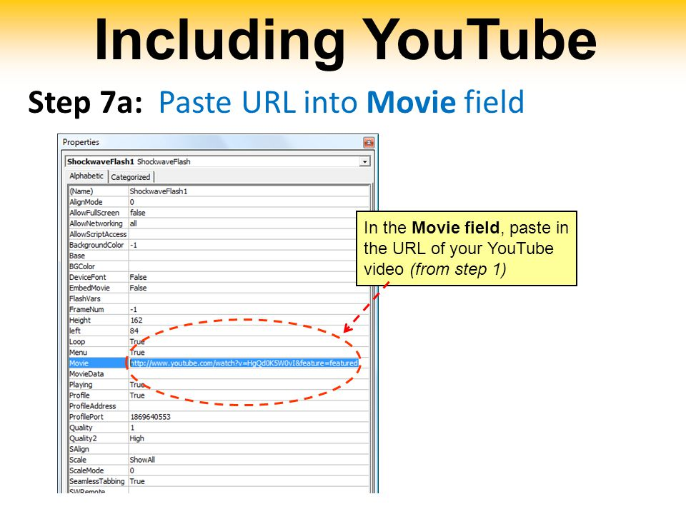 Including YouTube Step 7a: Paste URL into Movie field In the Movie field, paste in the URL of your YouTube video (from step 1)