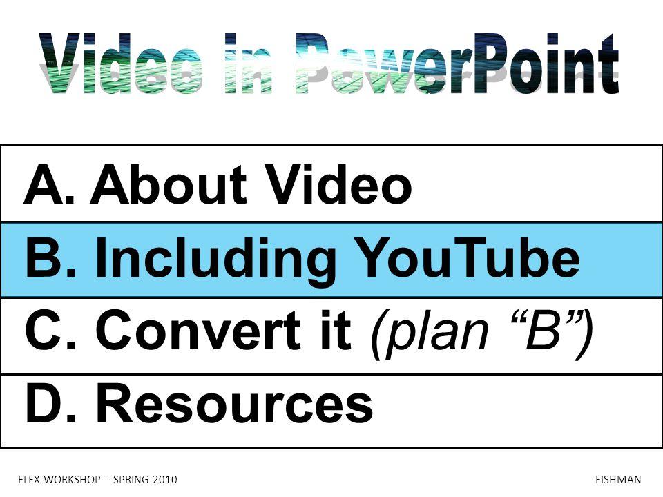 "FLEX WORKSHOP – SPRING 2010 FISHMAN A.About Video B. Including YouTube C. Convert it (plan ""B"") D. Resources"