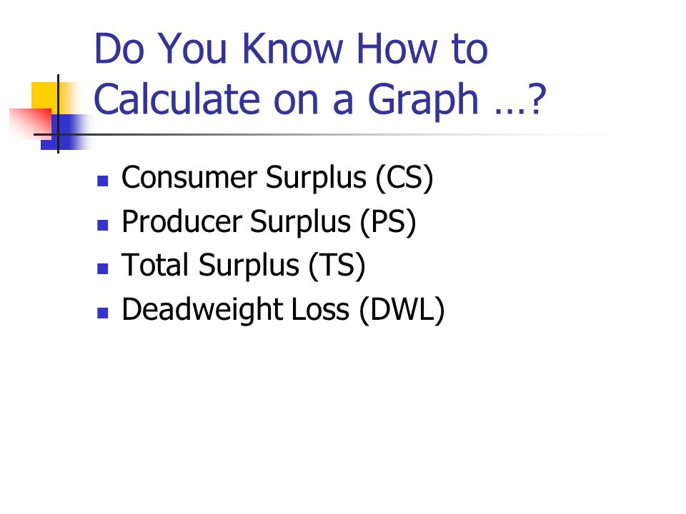 Do You Know How to Calculate on a Graph …? Consumer Surplus (CS) Producer Surplus (PS) Total Surplus (TS) Deadweight Loss (DWL)
