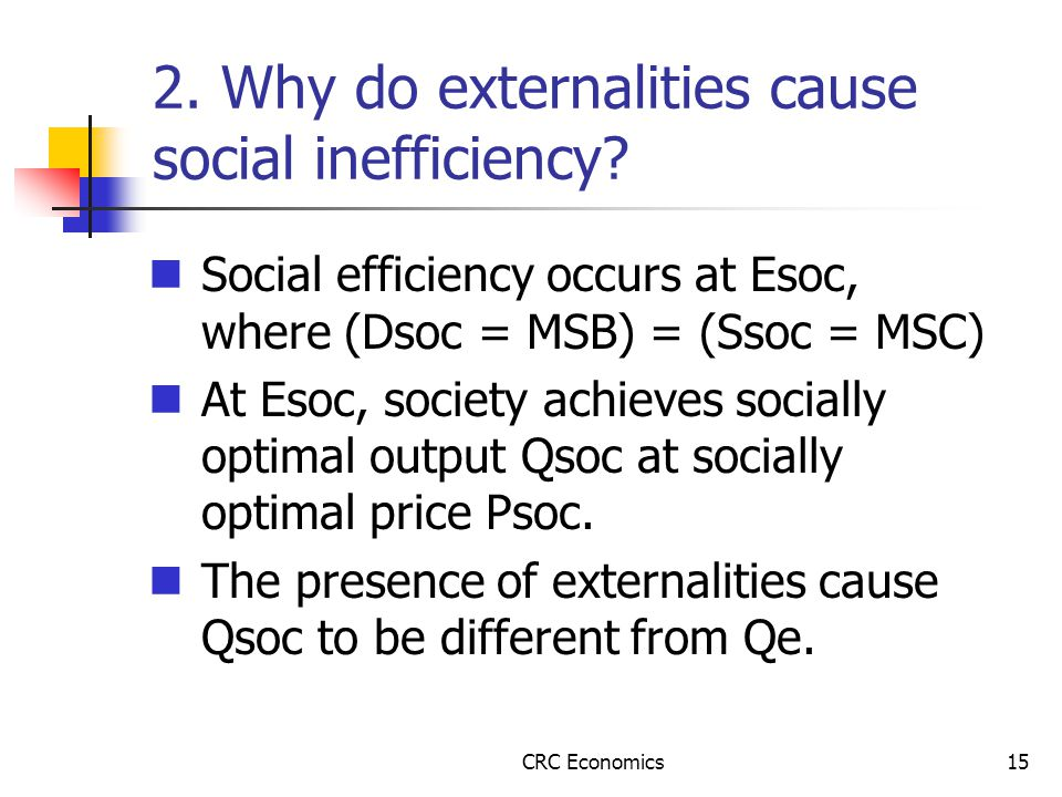 CRC Economics15 2. Why do externalities cause social inefficiency.