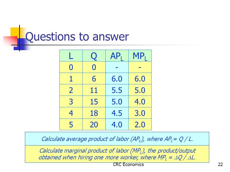 CRC Economics22 Questions to answer L 0 1 2 3 4 5 Q 0 6 11 15 18 20 Calculate average product of labor (AP L ), where AP L = Q / L.
