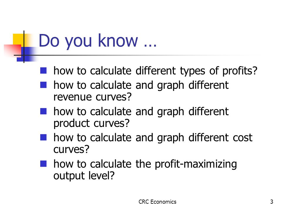 CRC Economics3 Do you know … how to calculate different types of profits.