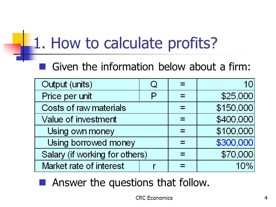 CRC Economics4 1. How to calculate profits.