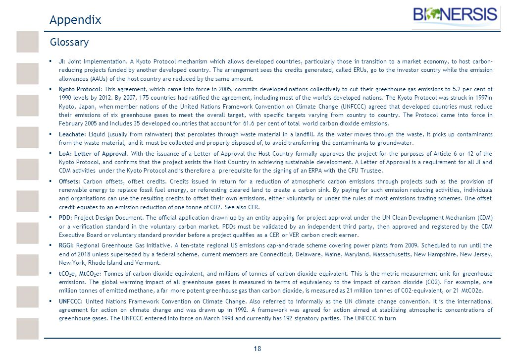 18 Glossary Appendix  JI: Joint Implementation.