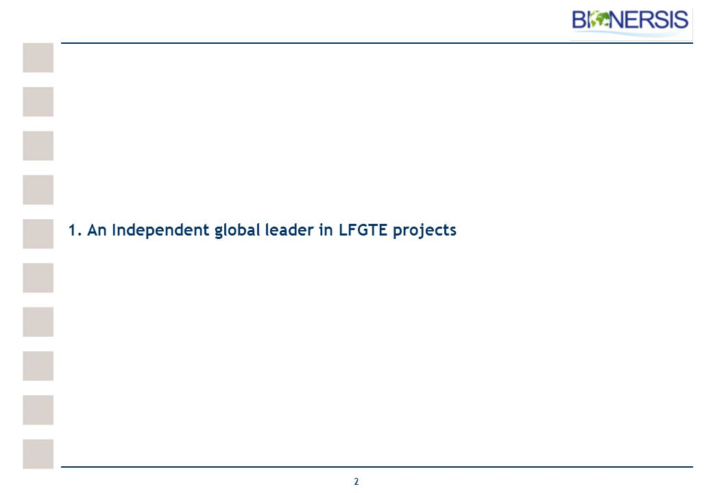 2 1. An Independent global leader in LFGTE projects