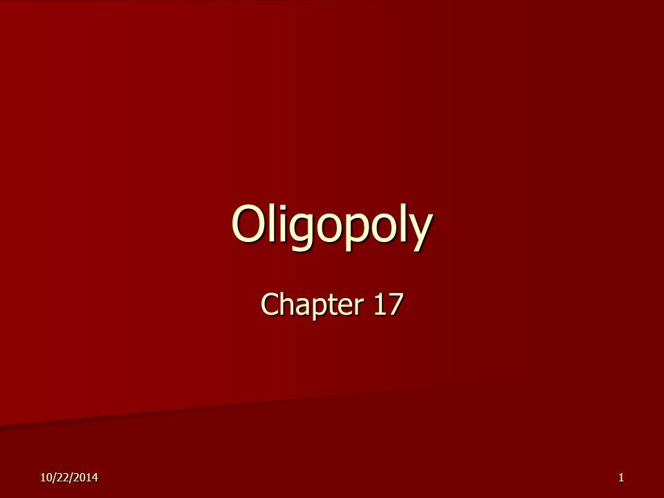 10/22/20141 Oligopoly Chapter 17