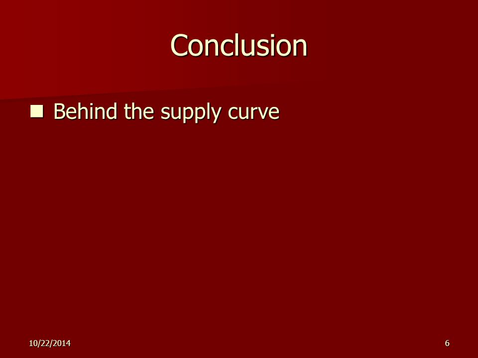 10/22/20146 Conclusion Behind the supply curve Behind the supply curve