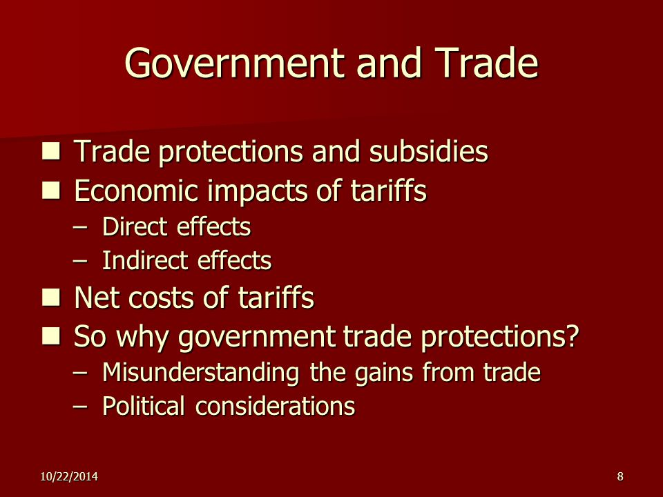 10/22/20148 Government and Trade Trade protections and subsidies Trade protections and subsidies Economic impacts of tariffs Economic impacts of tarif