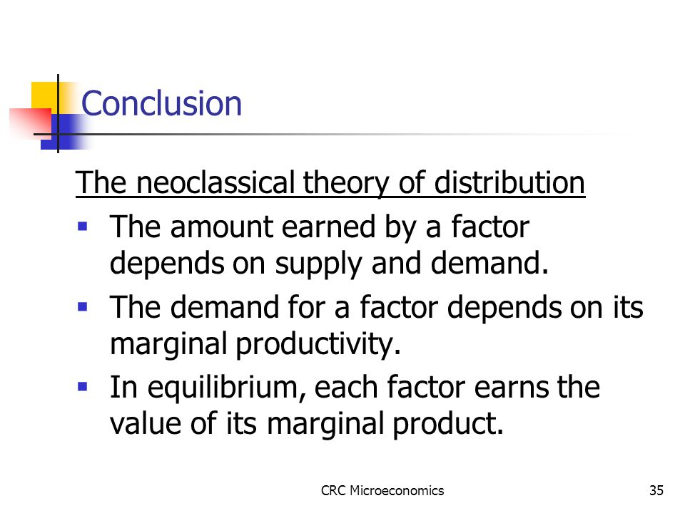 CRC Microeconomics35 Conclusion The neoclassical theory of distribution  The amount earned by a factor depends on supply and demand.