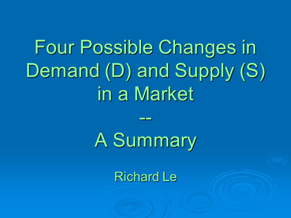 Do you know …  what would happen when either demand (D) or supply (S) in a market changes.