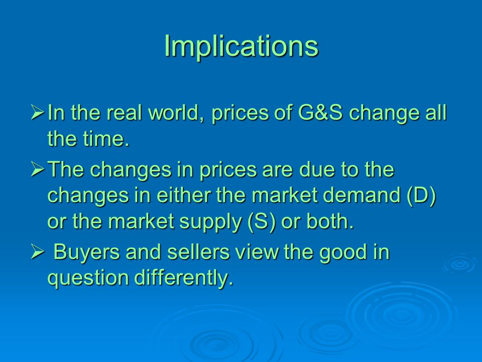Implications  In the real world, prices of G&S change all the time.