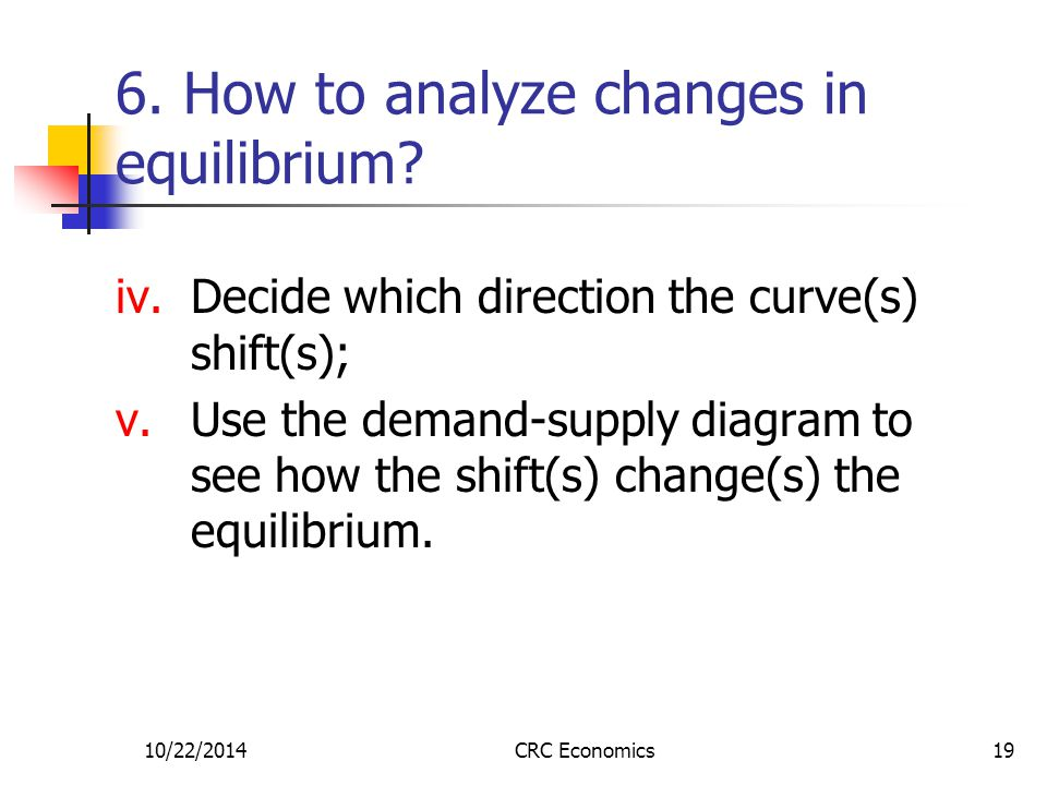 10/22/2014CRC Economics19 6. How to analyze changes in equilibrium? iv.Decide which direction the curve(s) shift(s); v.Use the demand-supply diagram t