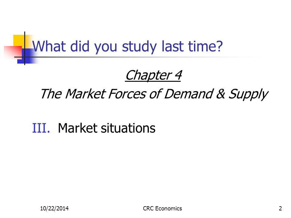 10/22/2014CRC Economics2 What did you study last time.