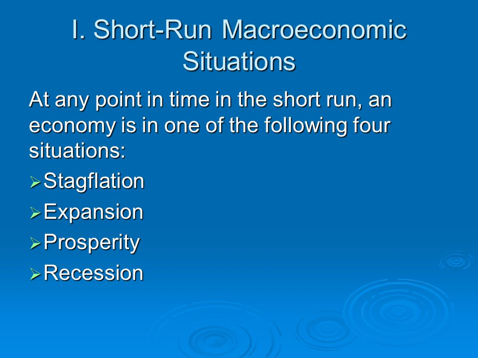 Original Situation P Q = Y ($) Originally, in an economy with AD 0, AS SR0 and AS LR, the economy is at long-run equilibrium point E 0, where the equilibrium price level is P 0, and the equilibrium real GDP is Q f = Y f, the economy's potential output.