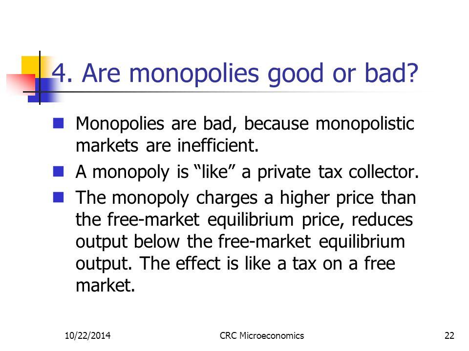 10/22/2014CRC Microeconomics22 4. Are monopolies good or bad.