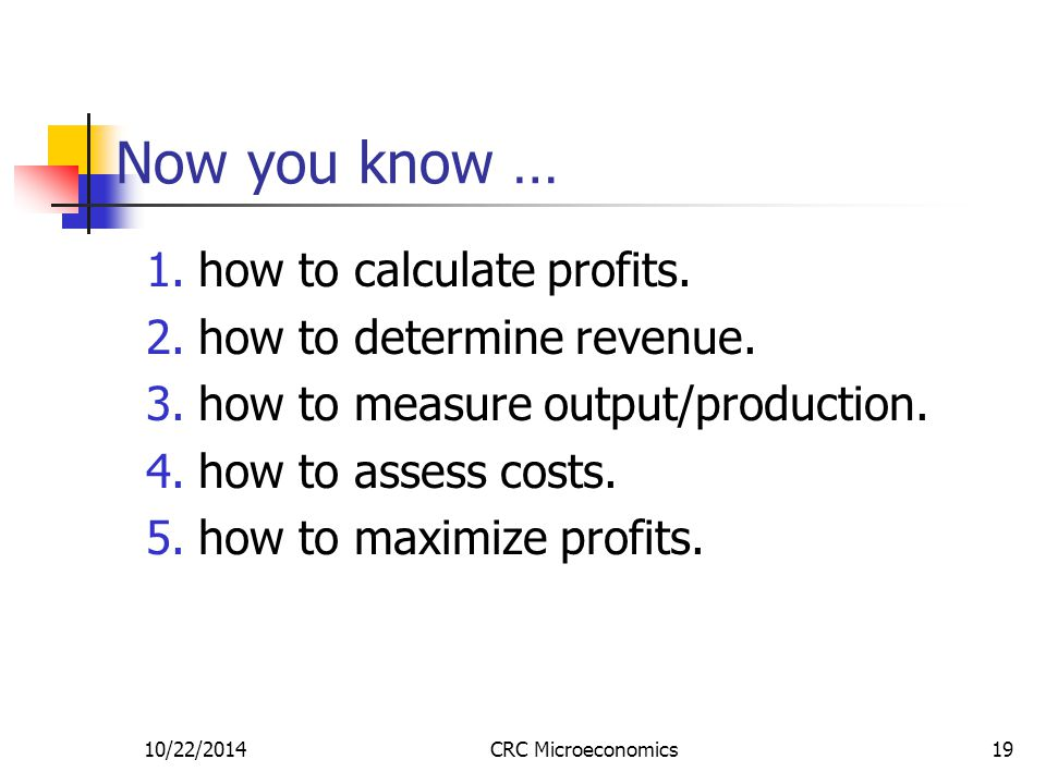 10/22/2014CRC Microeconomics19 Now you know … 1.how to calculate profits.