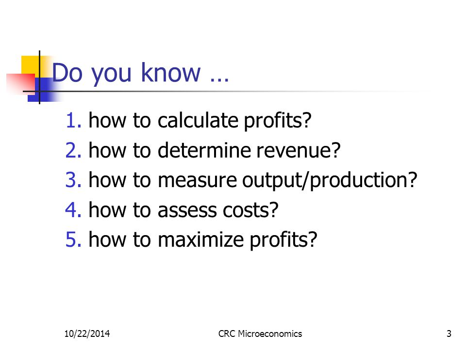 10/22/2014CRC Microeconomics3 Do you know … 1.how to calculate profits.