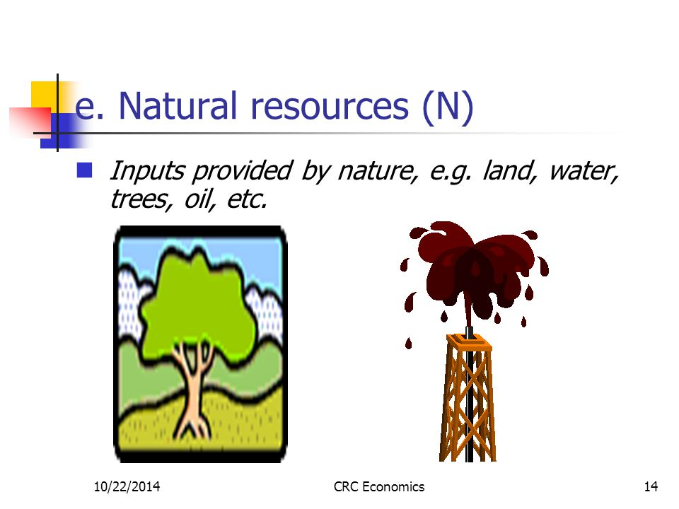 10/22/2014CRC Economics14 e. Natural resources (N) Inputs provided by nature, e.g. land, water, trees, oil, etc.