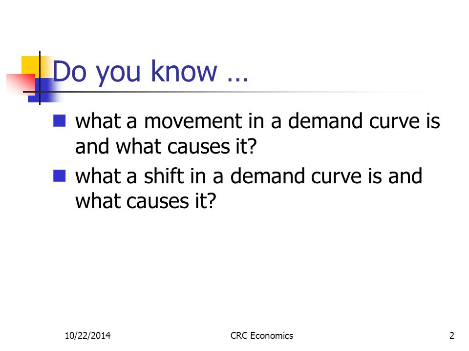 10/22/2014CRC Economics2 Do you know … what a movement in a demand curve is and what causes it.